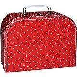 Kinderkoffer MITTEL - rot weiß gepunktet Punkte / Polka Dots - Pappkoffer - Puppenkoffer Koffer Kinder Pappe Karton - ideal für Spielzeug und als Geldgeschenk