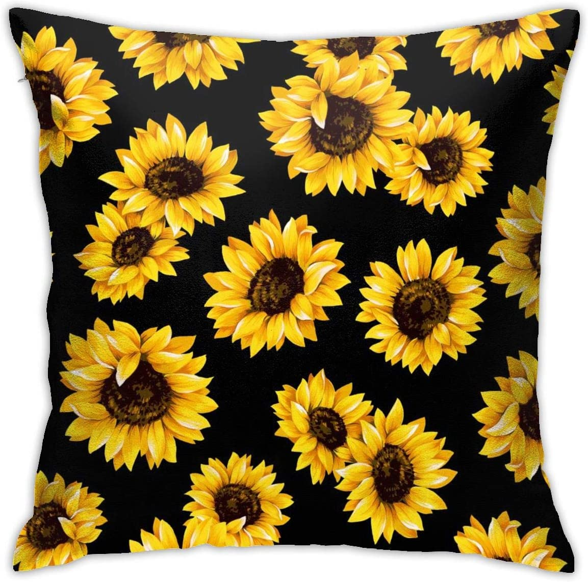 Bargburm Yellow Sunflower Throw Pillows Covers Cushion Case Cotton Home Decor for Sleeping Couch Sofa 18 X 18 Inch