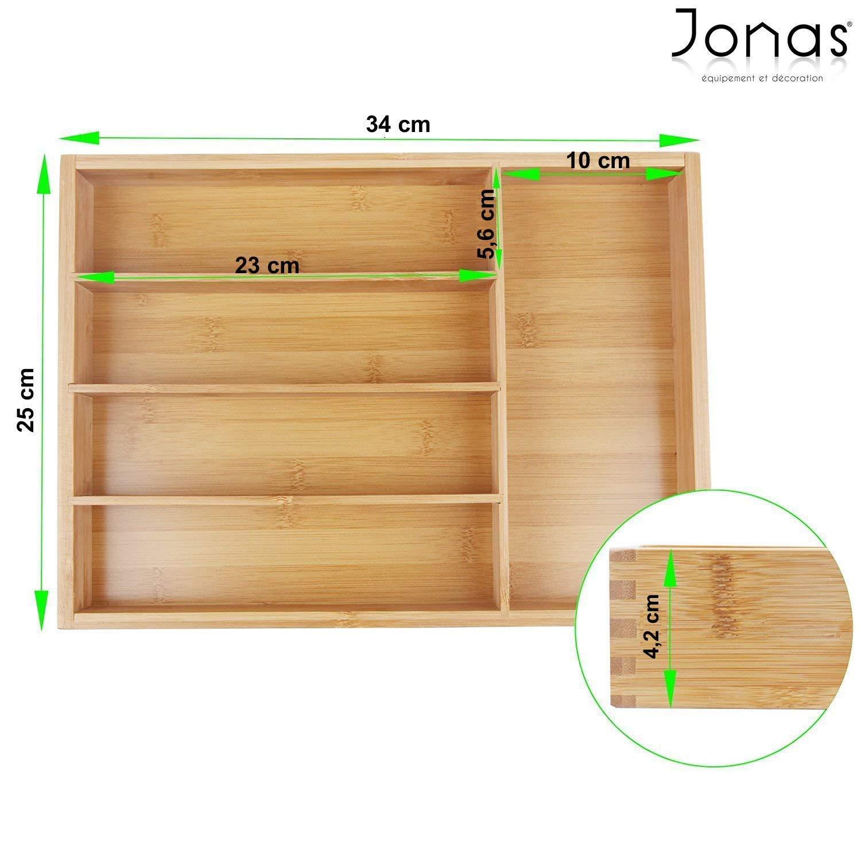 Bandeja Cubiertos Ideal para Cualquier Cocina Jonas Cubertero Caj/ón Bamb/ú Garant/ía de Calidad Organizador Cubiertos 5 Compartimentos Dimensiones 34 x 25 x 4,20 cm.