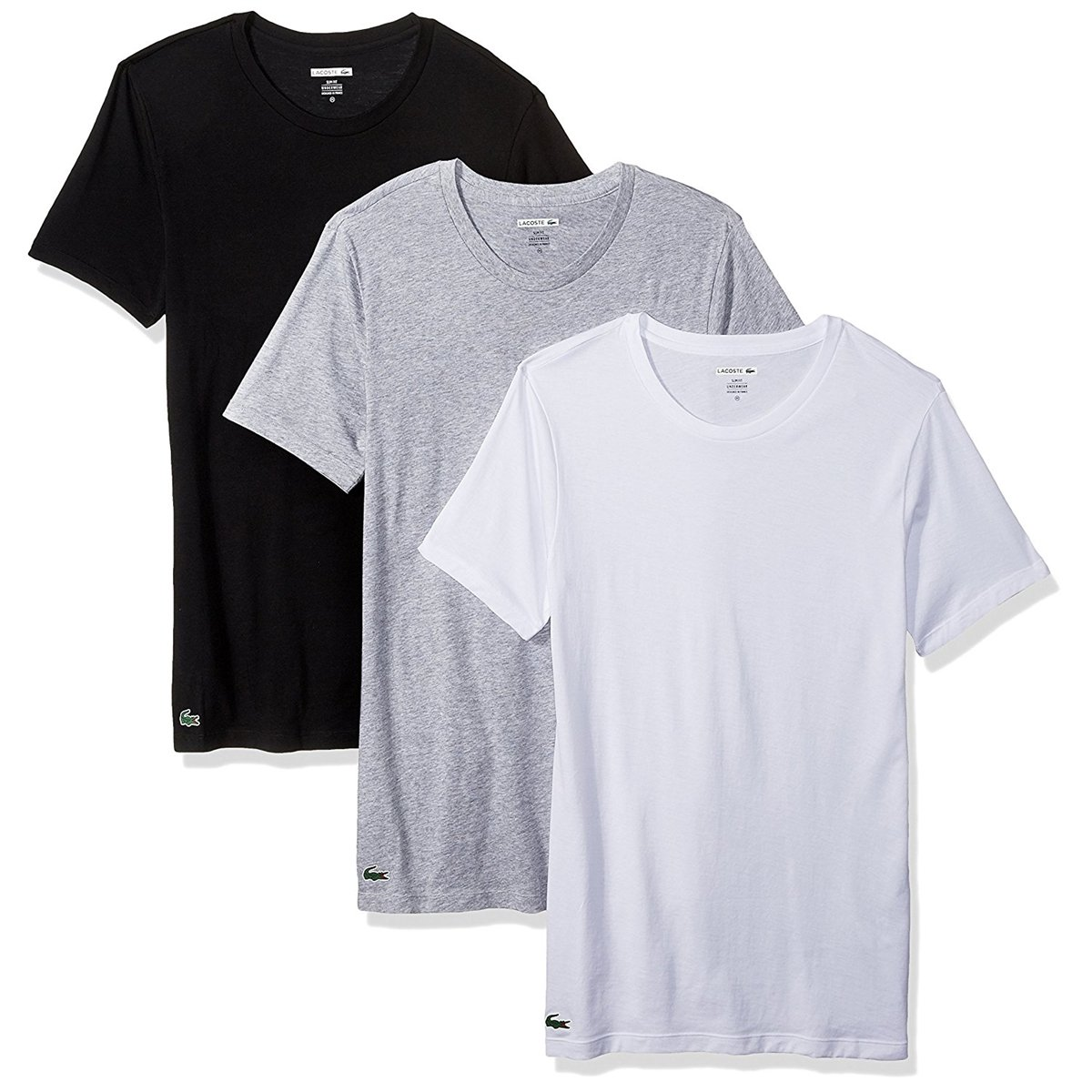 Lacoste Men's Slim Fit Cotton Crew Neck Tee, 3 Pk, Black/Grey/White, L by Lacoste
