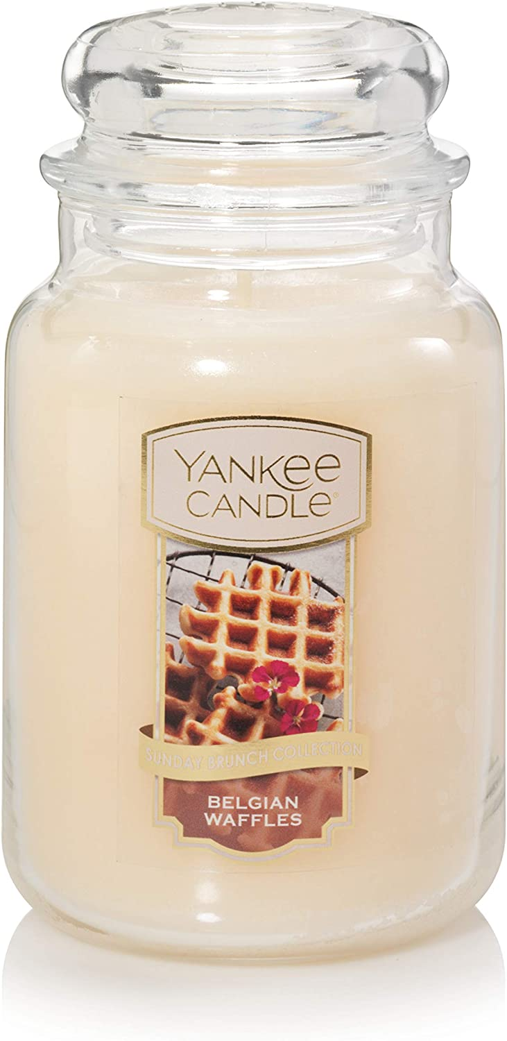 Yankee Candle Belgian Waffles, The Sunday Brunch Collection, Classic Glass Jar Candles, Large 7 Inches, 22 OZ