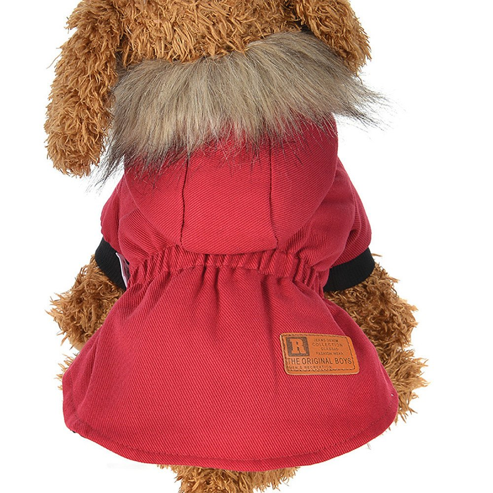 Cat Pet Small Dog Doggy Clothing Winter Warm Padded Thickening Vest Coat Dog Costumes Pet Fur Collar Clothes Sweater Dog Shirt Apparel Doggy Vest Puppy Sweatshirt Outfits Doggy Dress (Red, S)