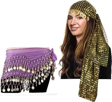 Tigerdoe disfraz gitano para mujer – diadema gitana y bufanda de ...