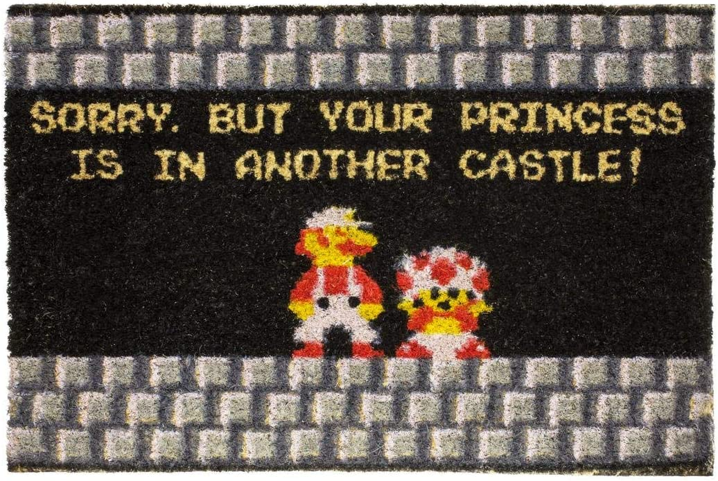 getDigital Your Princess is in Another Castle Funny Welcome Doormat for Gamers, Nerds and Geeks – 23.62 x 15.75 inch, 100 Natural Coco Coir Fibres