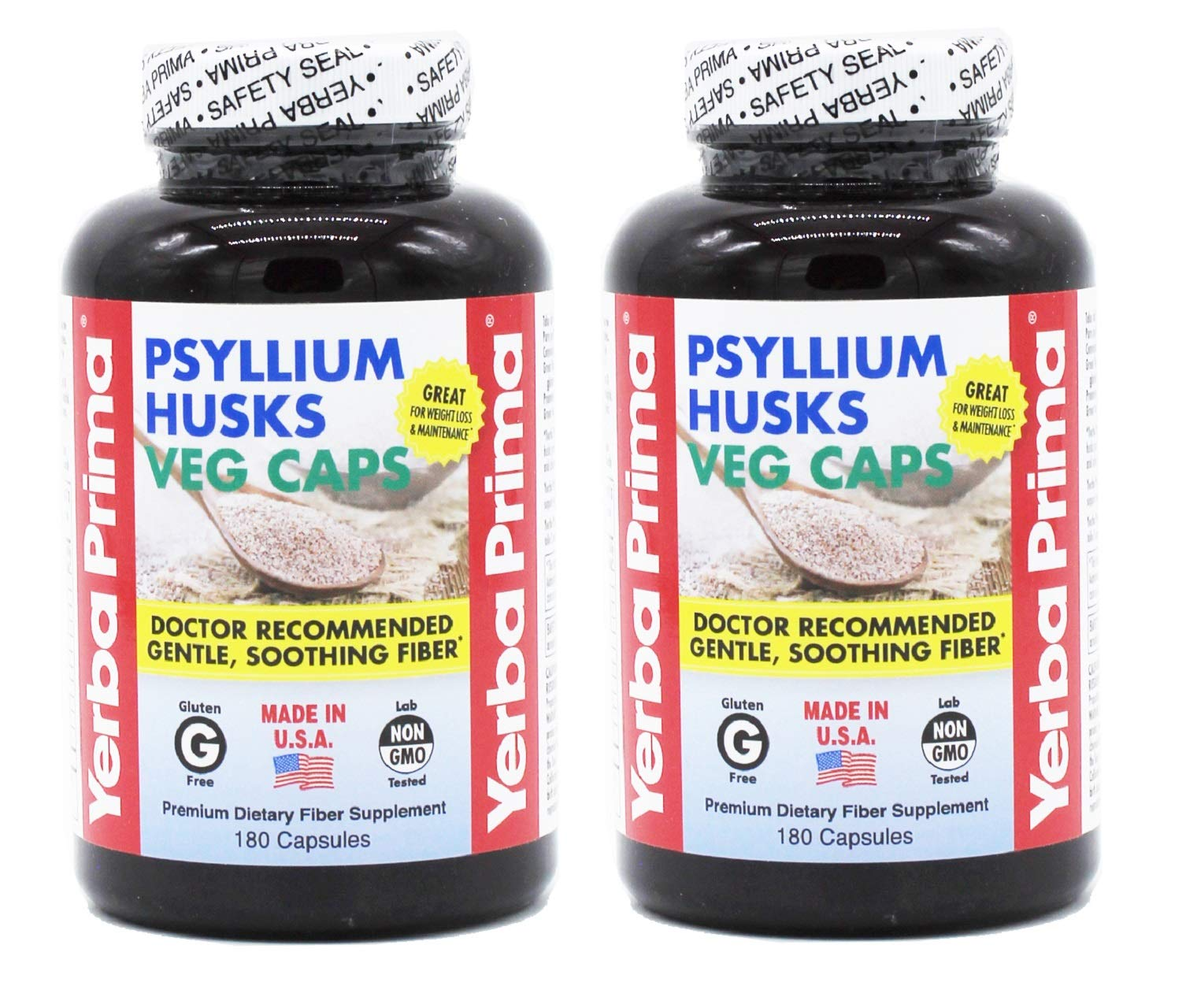 Yerba Prima Psyllium Husk Veg Caps for Regularity & Heart Health, 180 Capsules (Pack of 2)