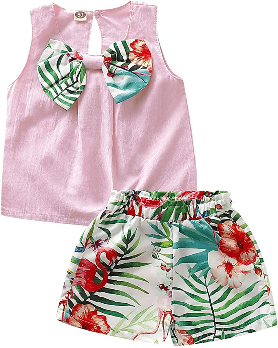 Toddler Baby Girl Hawaii Clothes Set Sleeveless Vest Top+Flamingo Leaf Printed Shorts Summer