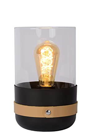Lucide Centur - Lámpara de mesa, vidrio tejido metal, negro ...