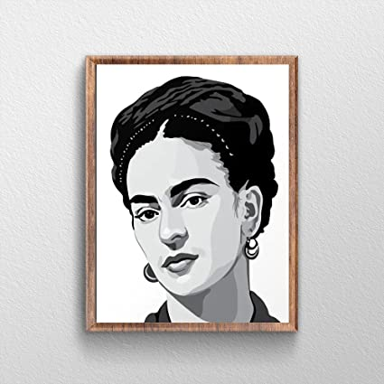 Amazon.com: QG Art Black and White Frida Kahlo Wall Art Boys Room ...