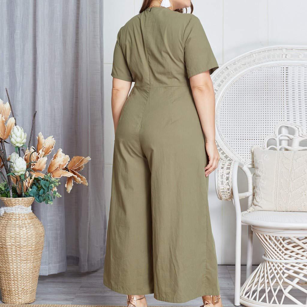Spbamboo Womens Romper Jumpsuit Romper Solid Color Large Size Jumpsuit