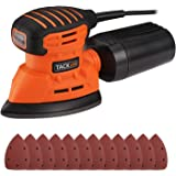 Mouse Detail Sander, Tacklife 12000OPM Sander with 12Pcs Sandpapers, 9.8Ft(3M) Long Power Cord, Dust Collection System For Tight Spaces Sanding in Home Decoration, DIY - PMS01A