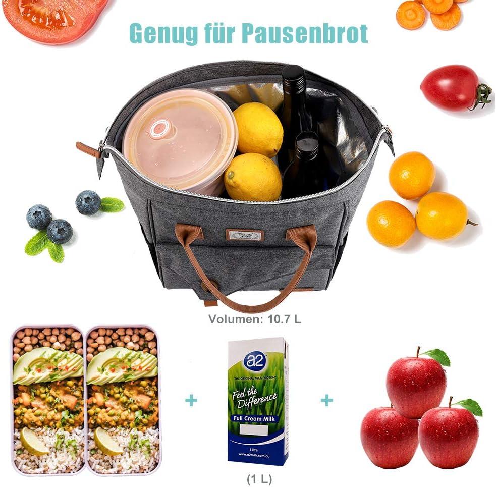 Grau Lekesky Lunchtasche Arbeit 10L f/ür Damen Isoliertasche zur Arbeit Lunchbag isoliert