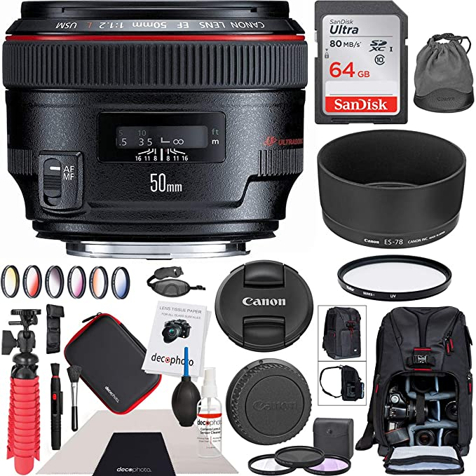 Amazon.com : Canon EF 50mm f/1.2L USM Standard Prime Lens 1257B002 with 72mm Multicoated UV, Polarizer & FLD Filter Kit and Deco Gear Photography Backpack ...