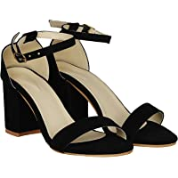 MISTO Women's Suede Leather Block Heel Sandals