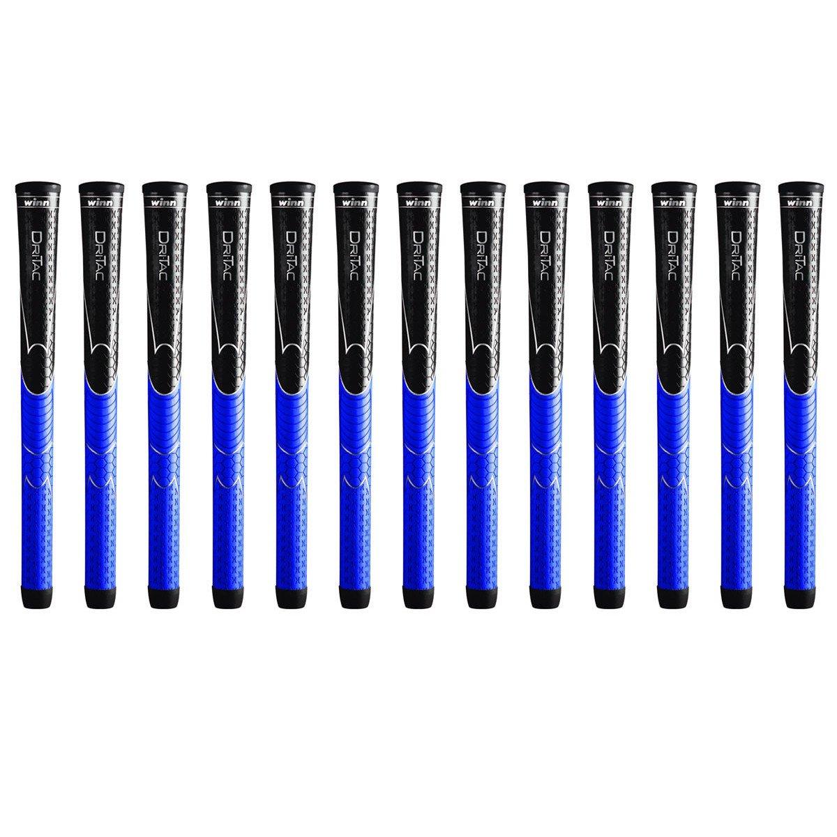 Winn dri-tac Midsize (+ 1 / 16インチ) ブラック/ブルー13 Pieceゴルフグリップバンドル( B01C7HQFQ6