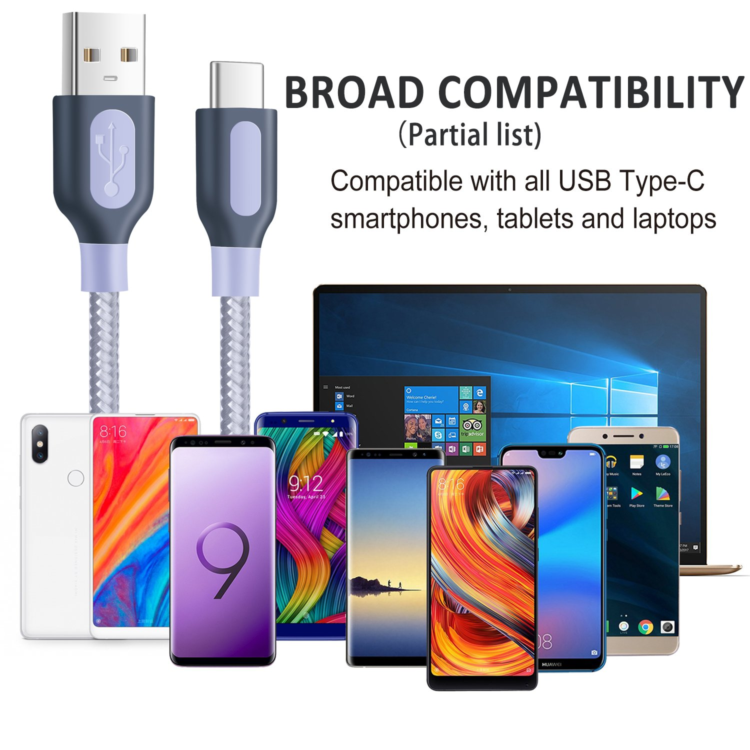 USB C Cable, Pofesun [2-Pack] USB Type C Data Sync Charger-10ft Nylon  Braided Fast Charging Cable Compatible Samsung Galaxy S9/S8+ Plus Note 9  8,Sony
