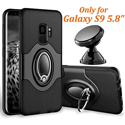 eSamcore Samsung Galaxy S9 Case Ring Holder Kickstand Cases + Dashboard Magnetic Phone Car Mount [Black]: Electronics