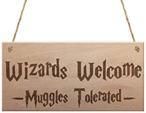Vintage Wood Gift Hanging Plaque Magic Wizards Welcome Muggles Tolerated Door Signs for Home Decor(CYL1974)