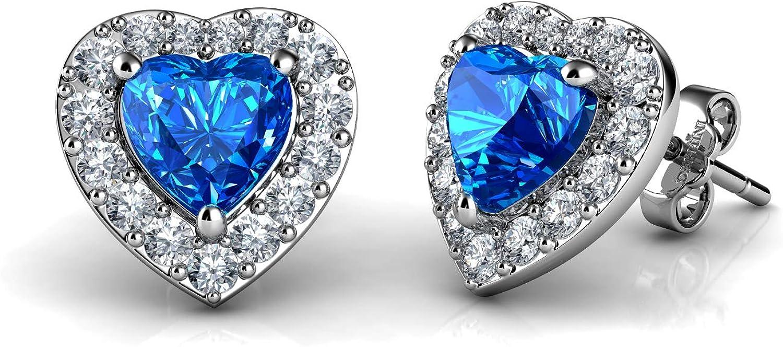 DEPHINI – Pendientes de corazón – plata de ley 925 – marca CZ cristal colgante piedra natal – joyería fina pendientes de tuerca para mujer – plata rodiada