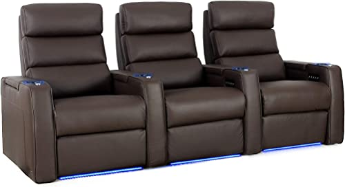 Octane Dream Leather Power Headrest Power Recline Home Theater Recliners, Brown Set of 3