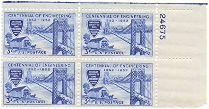 Amazon US 1952 Engineering Stamp 1012 Plate Block Of 4 Stamps
