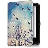 kwmobile Cover per Tolino Vision 1 / 2 / 3 / 4 HD - Custodia a libro per eReader - Copertina protettiva libro flip case Protezione per e-book reader Design Be Free nero blu bianco