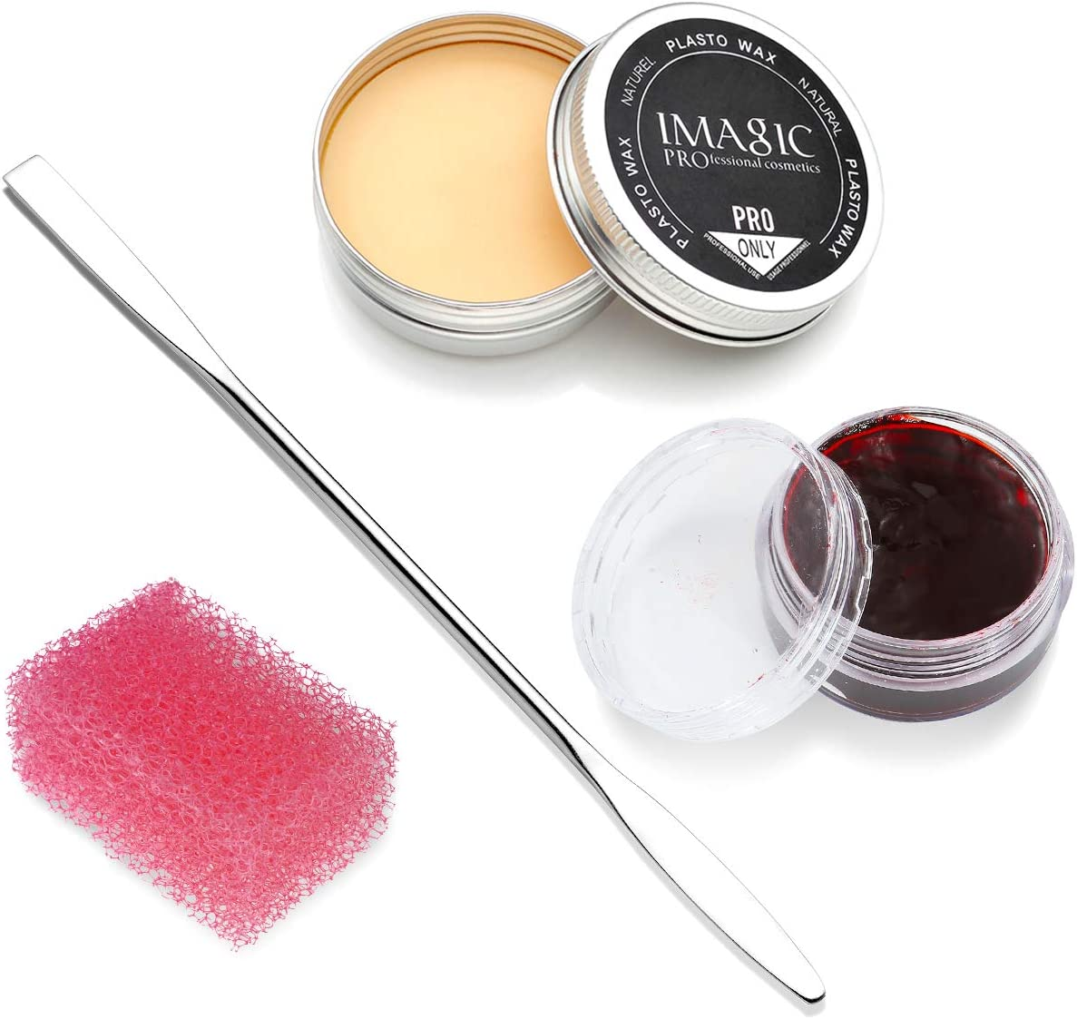 CCbeauty Special Effects Stage Makeup Wax (1.16 Oz) Fake Wound Moulding Scars Kit with Spatula,Scab Blood(0.63Oz) + Pink Stipple Sponge