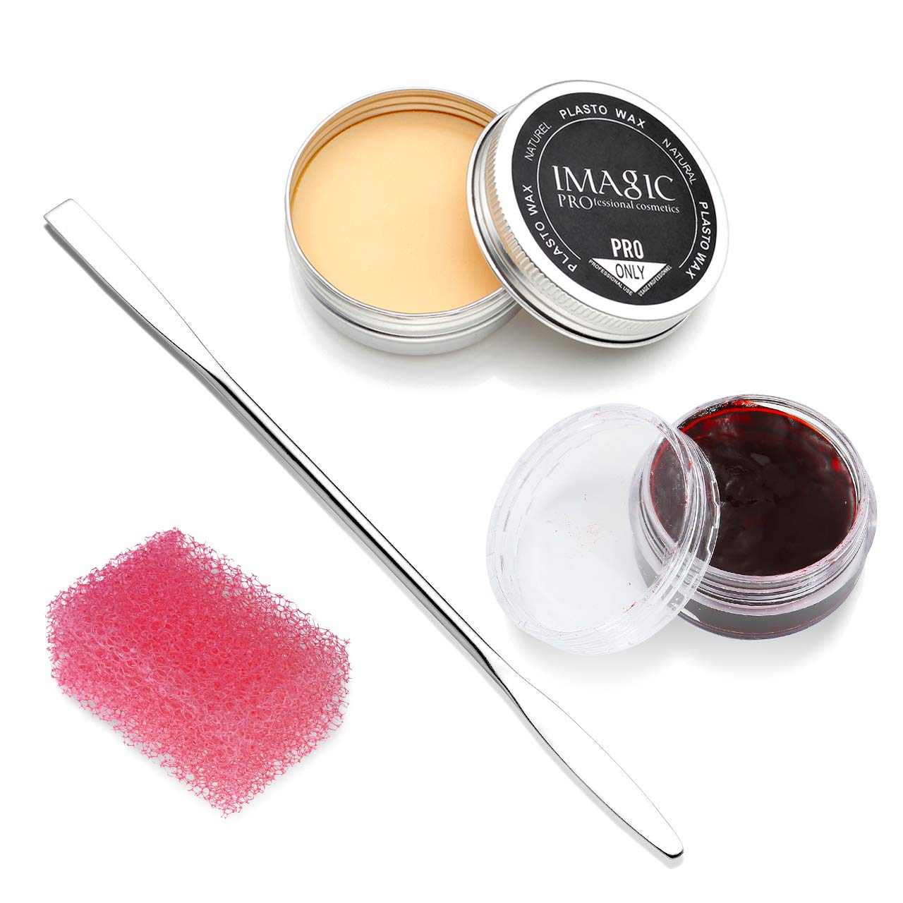 CCbeauty Special Effects Stage Makeup Wax (1.16 Oz) Fake Wound Moulding Scars Kit with Spatula,Scab Blood(0.63Oz) + Pink Stipple Sponge by CCbeauty