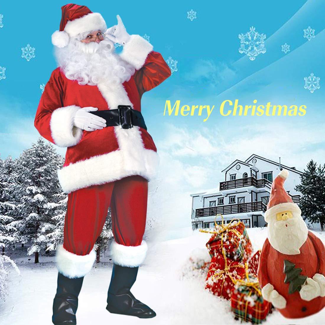 Christmas Santa Claus Costume Set Mens Santa Costume Deluxe Santa Suits