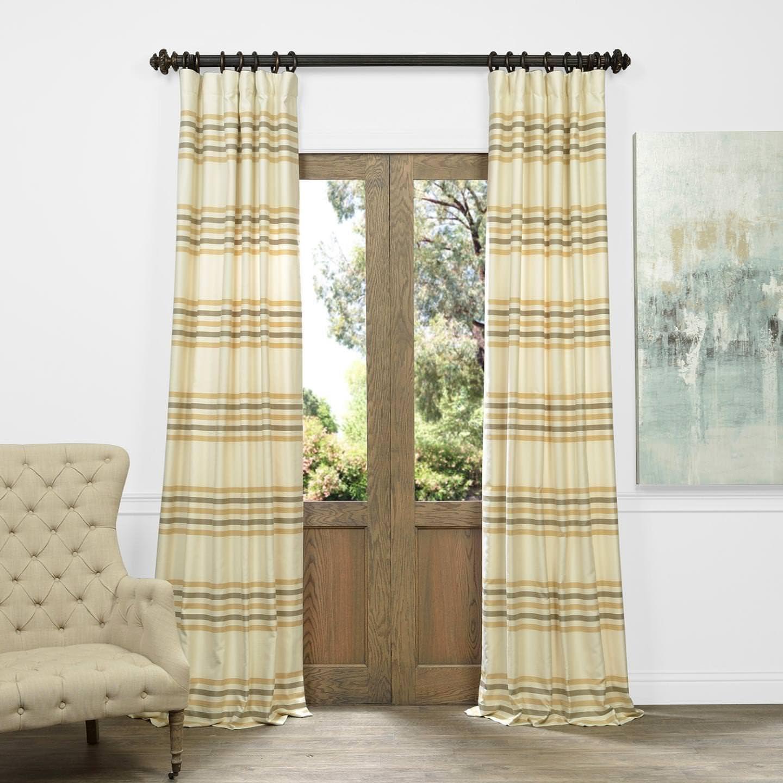 HPD Half Price Drapes JQCH-AS214318-108 Horizontal Stripe Jacquard Curtain 1 Panel , 50 X 108, Madison Pastal Yellow And Cream