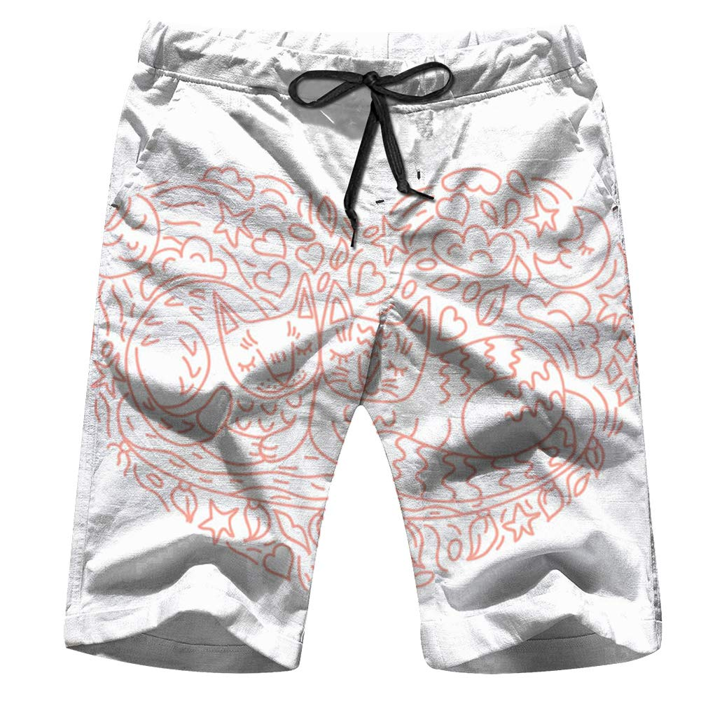 Cute Cats Two Doodle Animals Adorable Objects Mens Quick Dry Swim Trunks Drawstring Beach Board Shorts with Mesh Lining