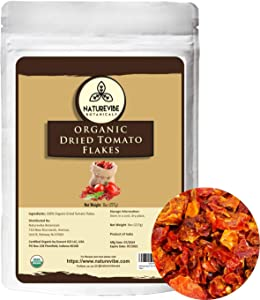 Naturevibe Botanicals Organic Dehydrated Tomato Flakes, 8 ounces | Ready to cook | Adds Flavor and Taste