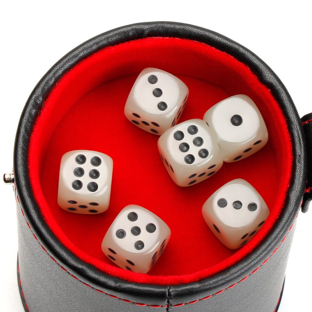 1 Pack Light Green 6 dice Set for Most Dice Game Bidear Leather Dice Cup Shaker with Lid