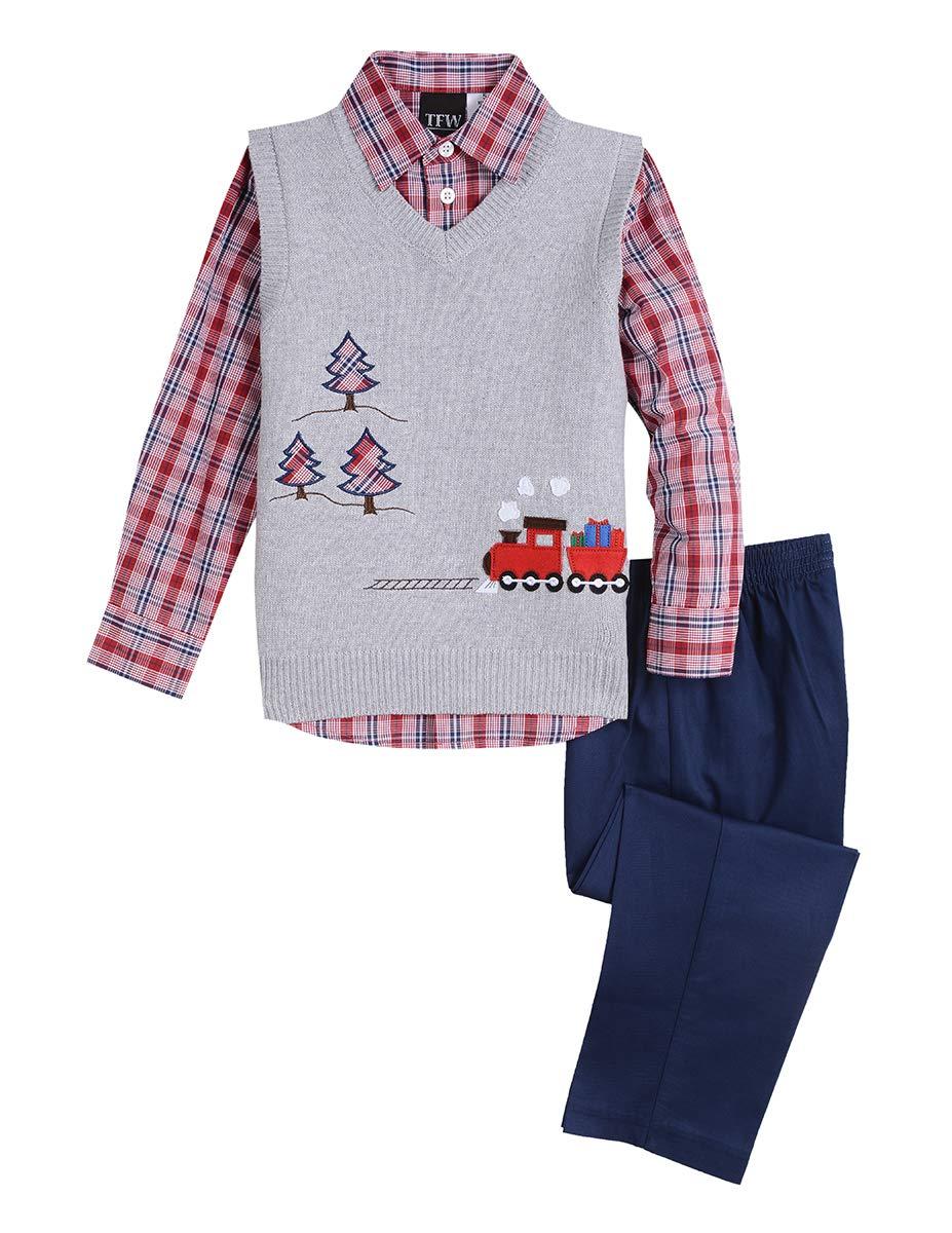 TFW Dresswear Little Boys' Sweater Vest Set, Train Grey Heather 5