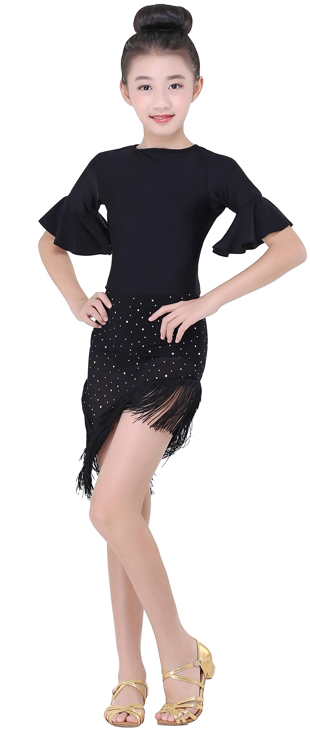 Girls' Shiny Dot Sequin Latin Salsa Smooth Practice Tassel Dance Skirt (Black, XL) by JEZISYMA