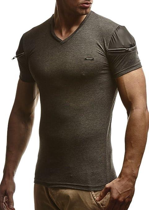 b98af2038096 LEIF NELSON Herren T-Shirt Hoodie Longsleeve V-Neck V-Ausschnitt Shirt  Sweatshirt Rundhals Sweatshirt LN310  Amazon.de  Bekleidung
