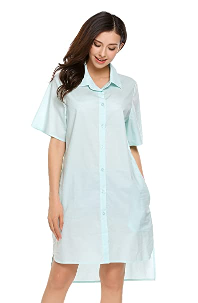 08c0938c Zeagoo Womens Boyfriend Button Down High Low Casual Frock Longline Casual Shirt  Dress(Light Blue