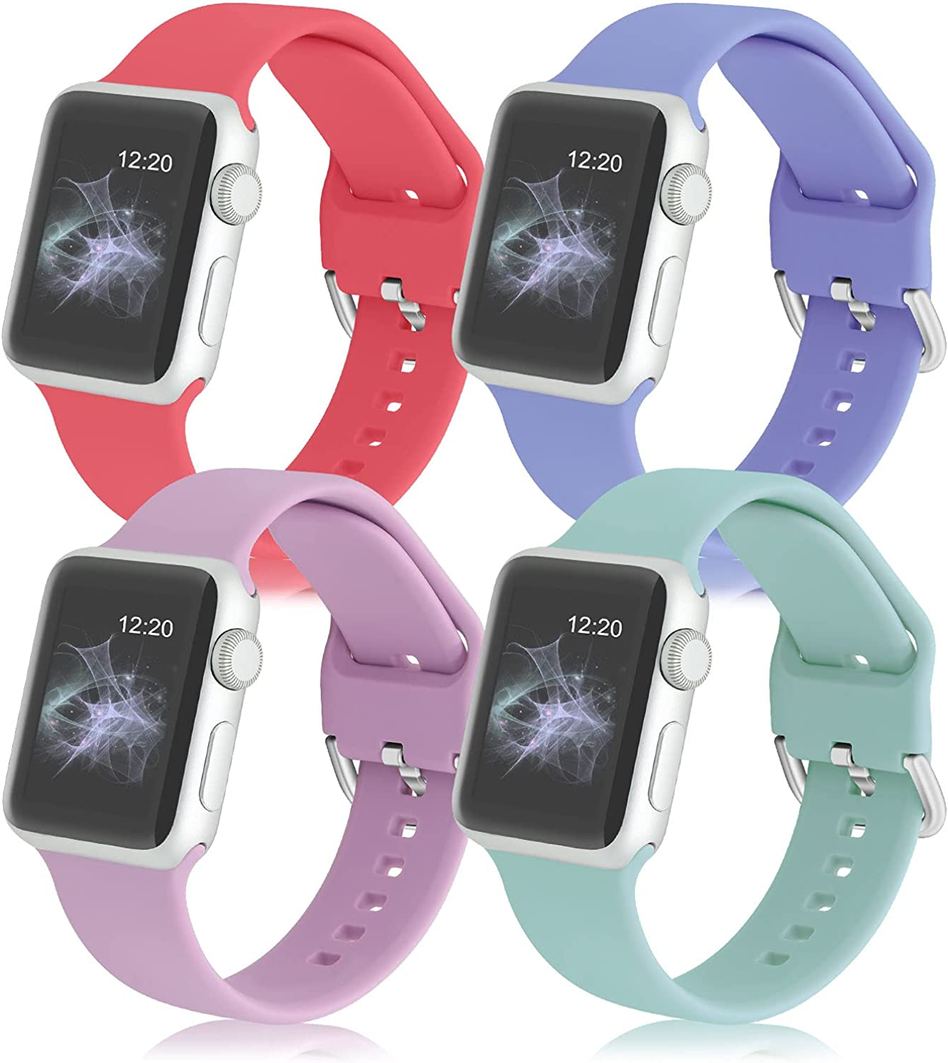 XVGJDZ 4PCS Compatible with Apple Watch Bands 38mm 42mm 40mm 44mm for Women Men,Soft Silicone Sport Wristband for Watch Series 6/5/4/3/2/1/SE