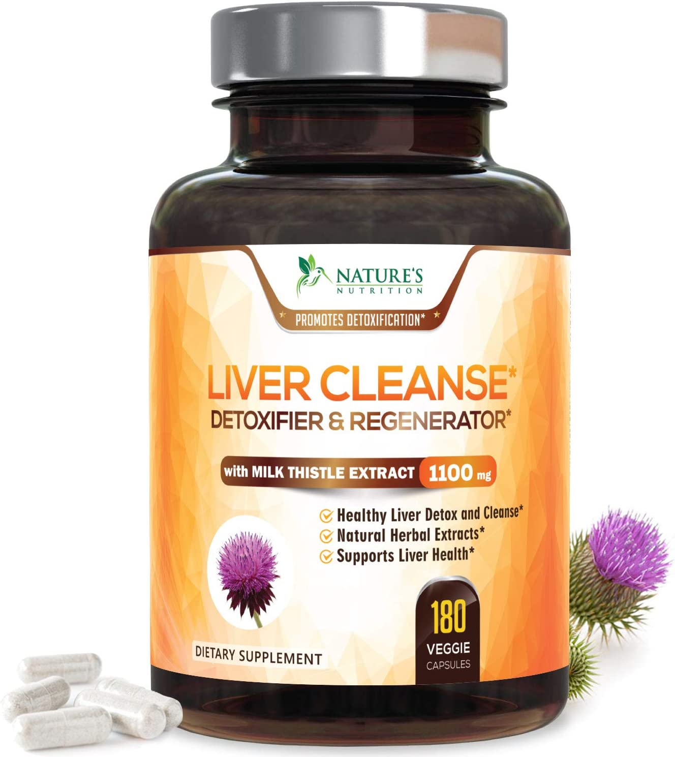 Liver Cleanse Detox Repair Formula 1100mg – Highest Potency 22 Herbs, Made in USA, Best Milk Thistle Extract, Silymarin, Beet, Artichoke, Dandelion, Chicory, Support Supplement – 180 Capsules