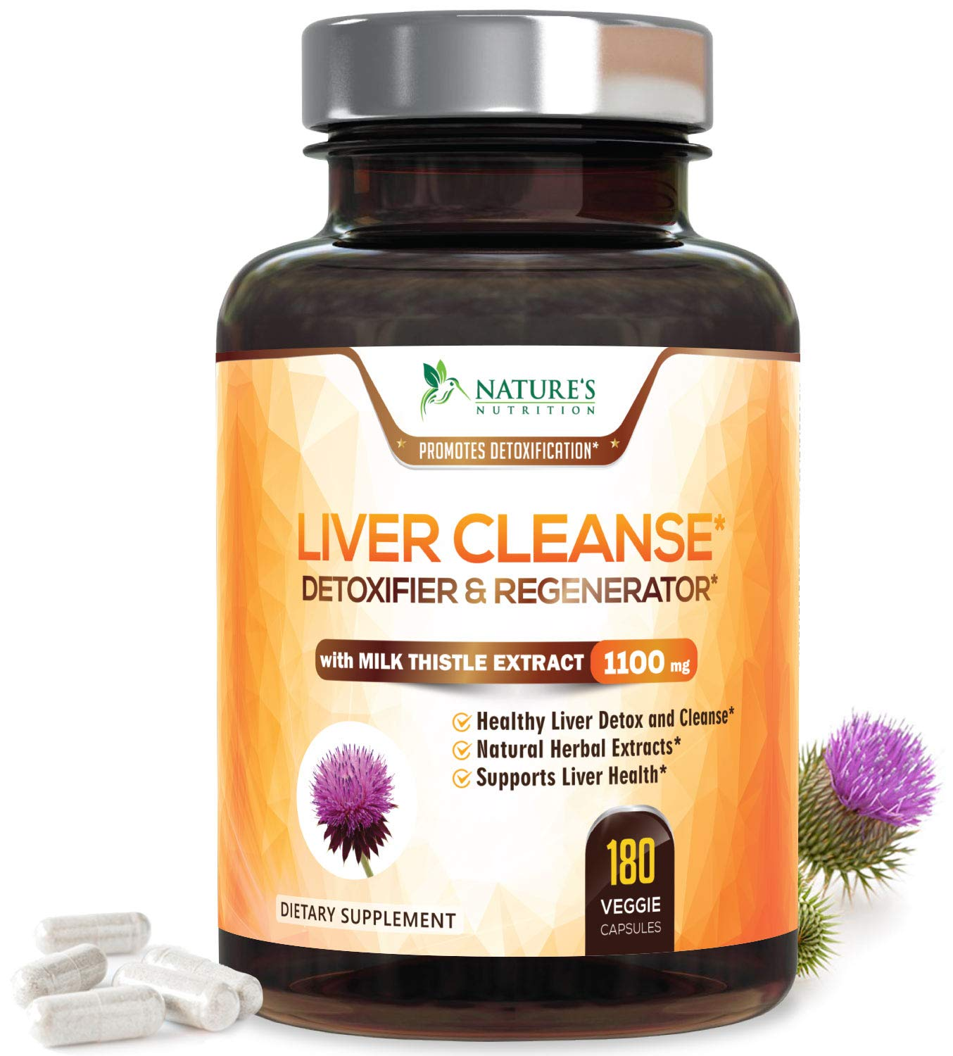 Liver Cleanse Detox & Repair Formula 1100mg - Highest Potency 22 Herbs, Made in USA, Best Milk Thistle Extract, Silymarin, Beet, Artichoke, Dandelion, Chicory, Support Supplement - 180 Capsules by Nature's Nutrition