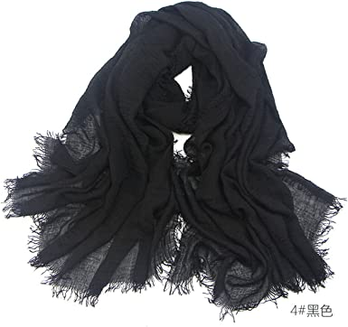Crinkle Hijab Crimp Frayed Edges Maxi Scarves Hijab Scarves Cotton Mix*Crinkle