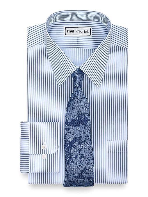 1920s Men's Dress Shirts Paul Fredrick Mens Classic Fit Non-Iron Cotton Stripe Dress Shirt $57.00 AT vintagedancer.com