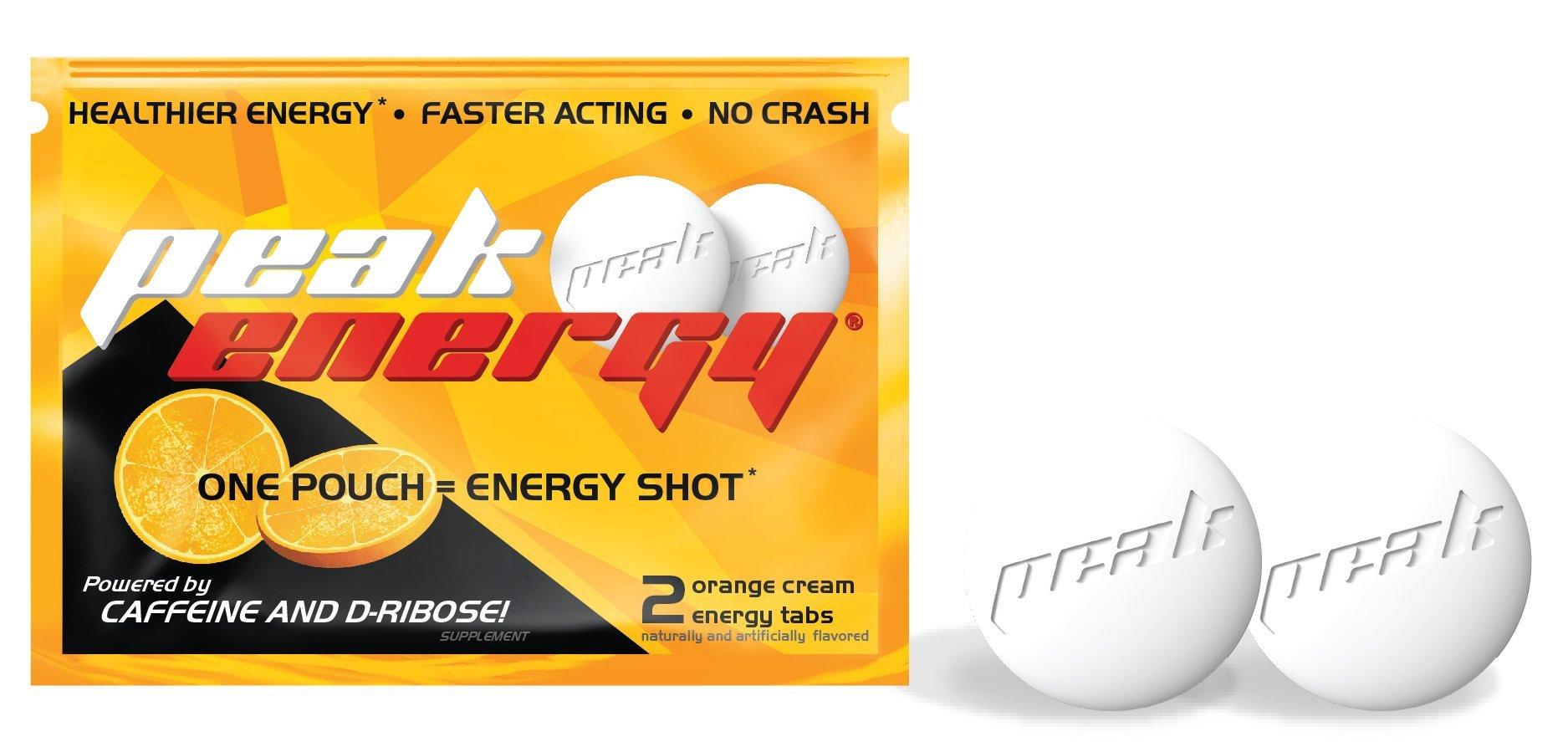 Caffeine and D-Ribose Energy Mints - 100mg Caffeine per mint - 24 Pouch Box - Orange Cream Flavor by Peak Energy (Image #2)