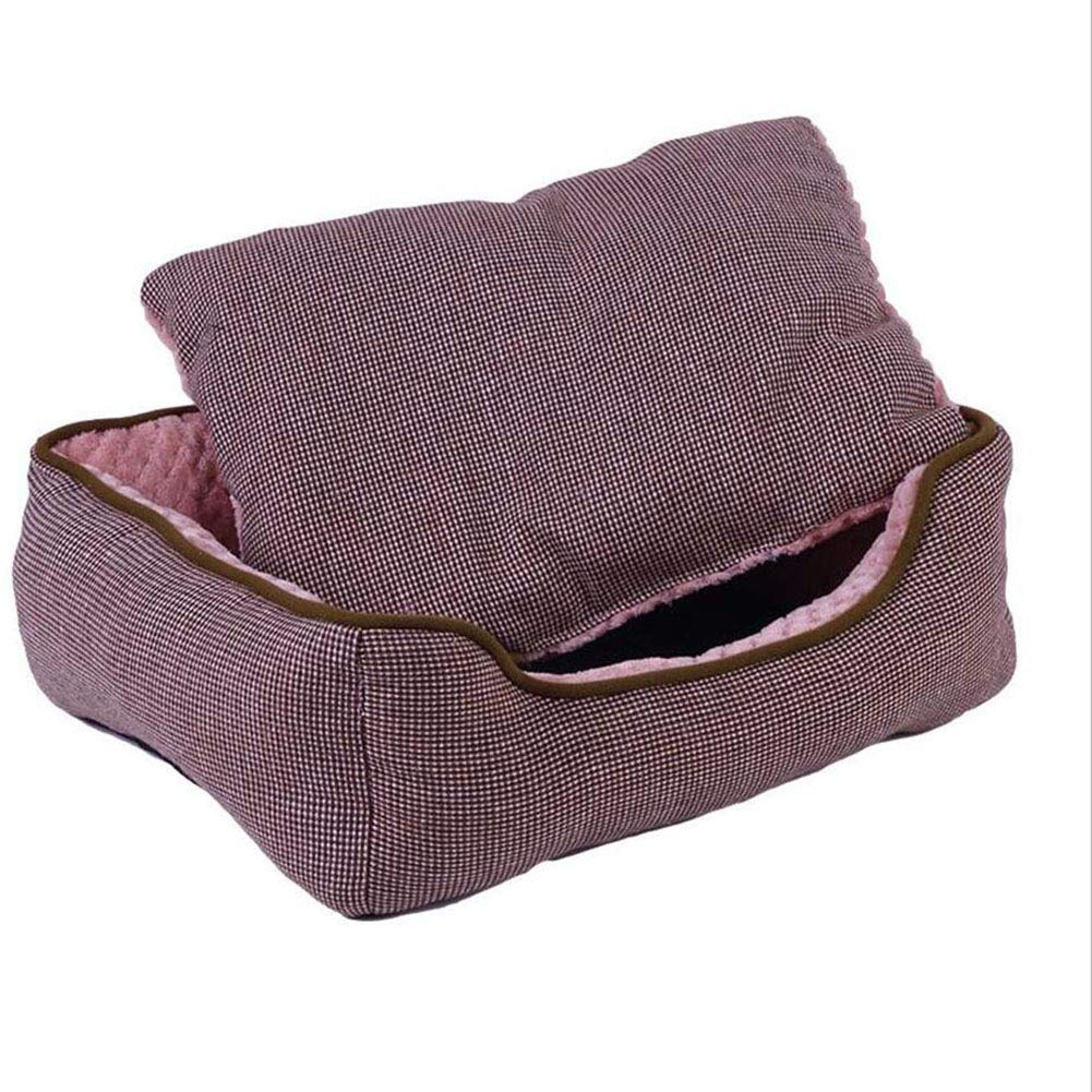 Brown Large Brown Large H.ZHOU Dogs and Cats Bed Liners & Mats Dog Nest Washable Four Seasons Available Small And Medium-sized Pets Nest Cat Nest (color   BROWN, Size   L)