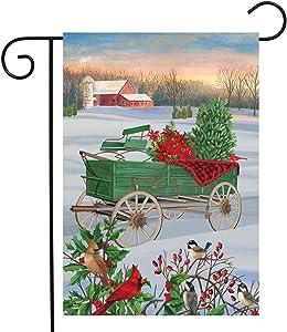 "Briarwood Lane Winter Wagon Christmas Garden Flag Cardinals Barn 12.5"" x 18"""