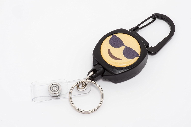 24 inch Kevlar Cord Emoji - Face with Shades Tough Polycarbonate Case Rel Amigo Emoji ID Badge and Key Reel Zinc Alloy Metal Carabiner