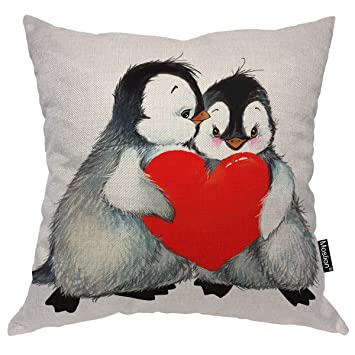 Moslion Penguin Pillows Valentines Day Love Cute Animal Penguins Holding Red Heart Throw Pillow Cover Decorative Pillow Case Square Cushion Accent ...