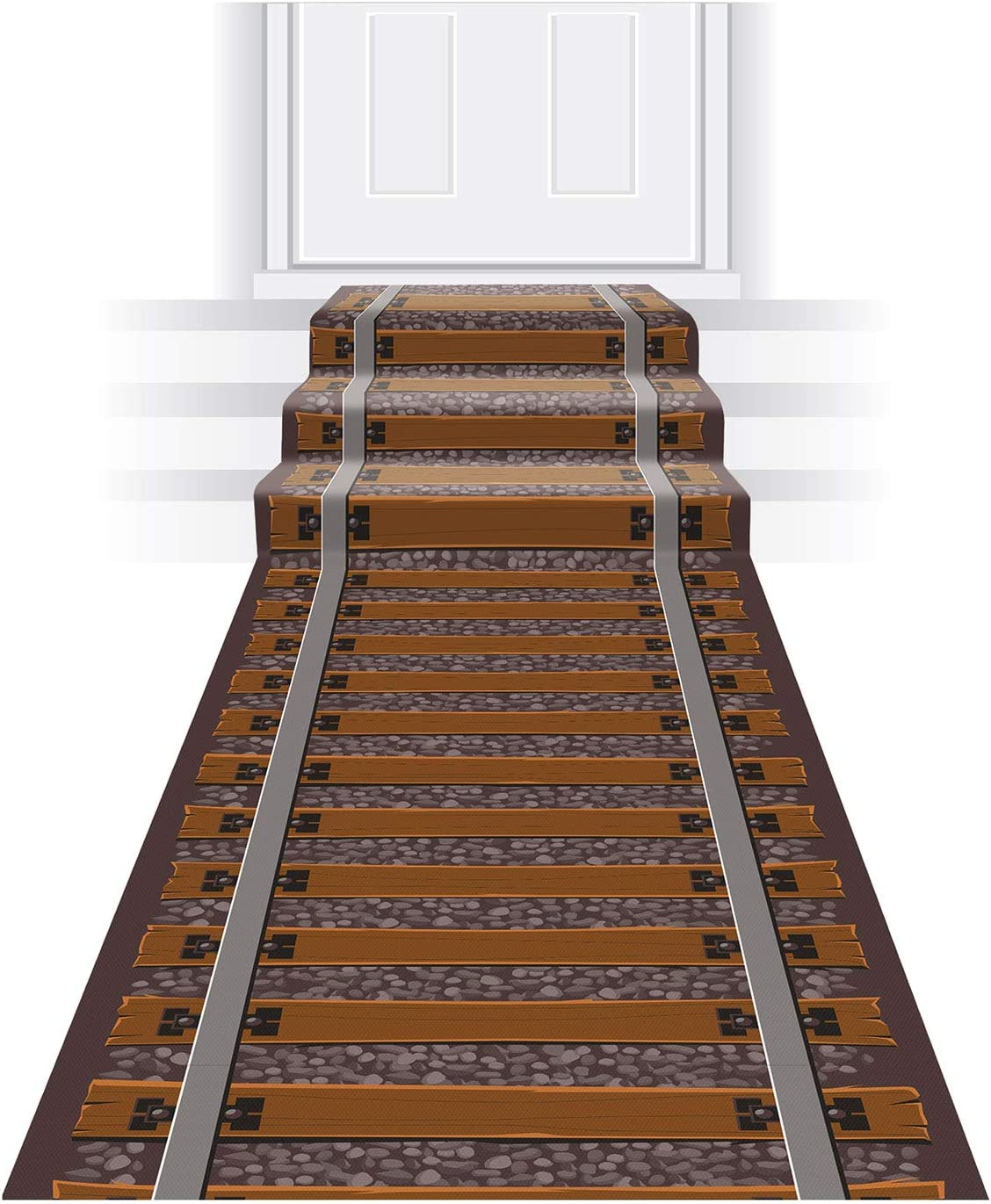 """Beistle Novelty Railroad Tracks Aisle Runner Western Decorations Birthday Party Supplies, 24"""" x 10', Brown/Gray"""