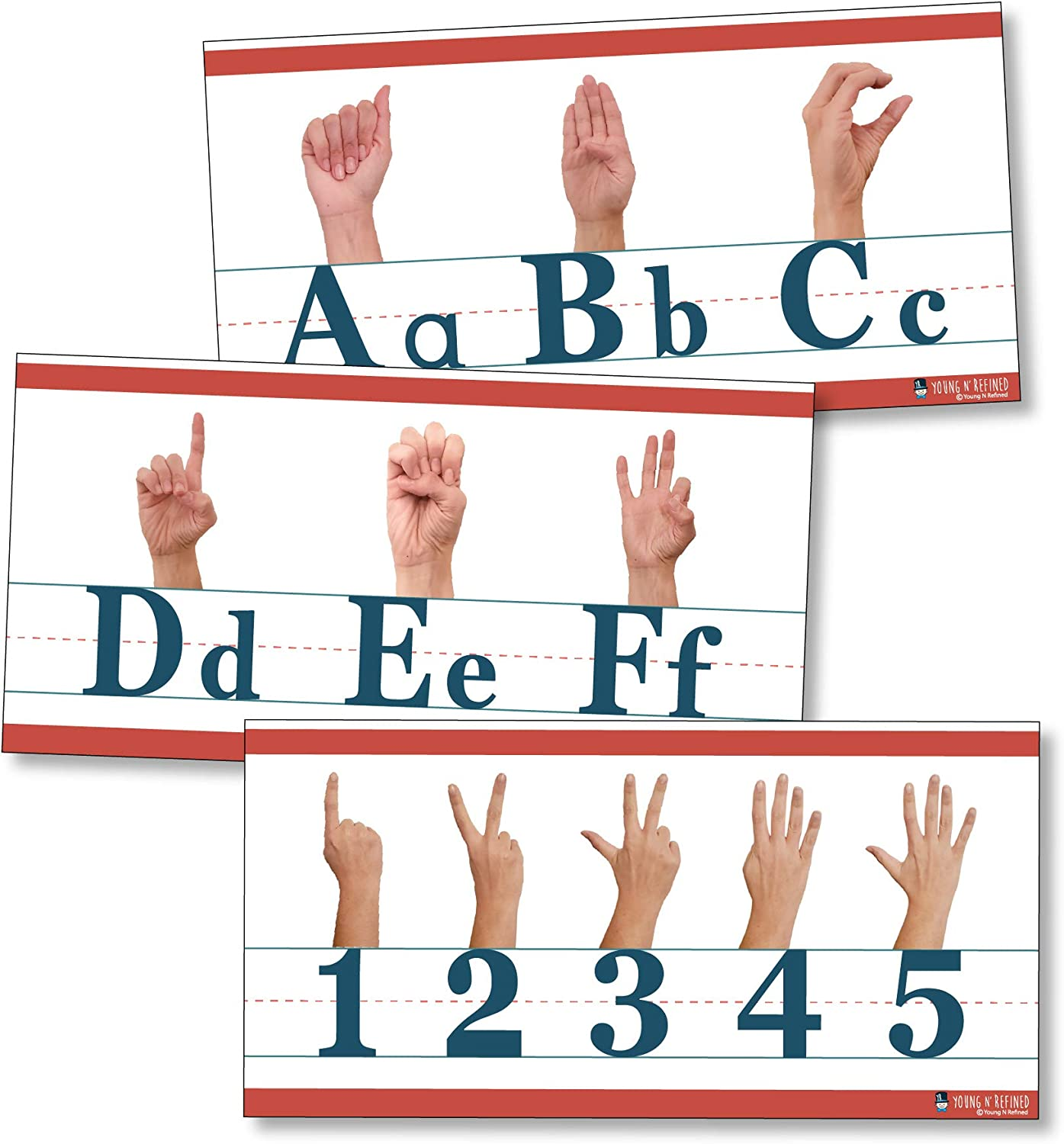 American Sign Language ABC and counting to 10 Alphabet strip Line matte (9