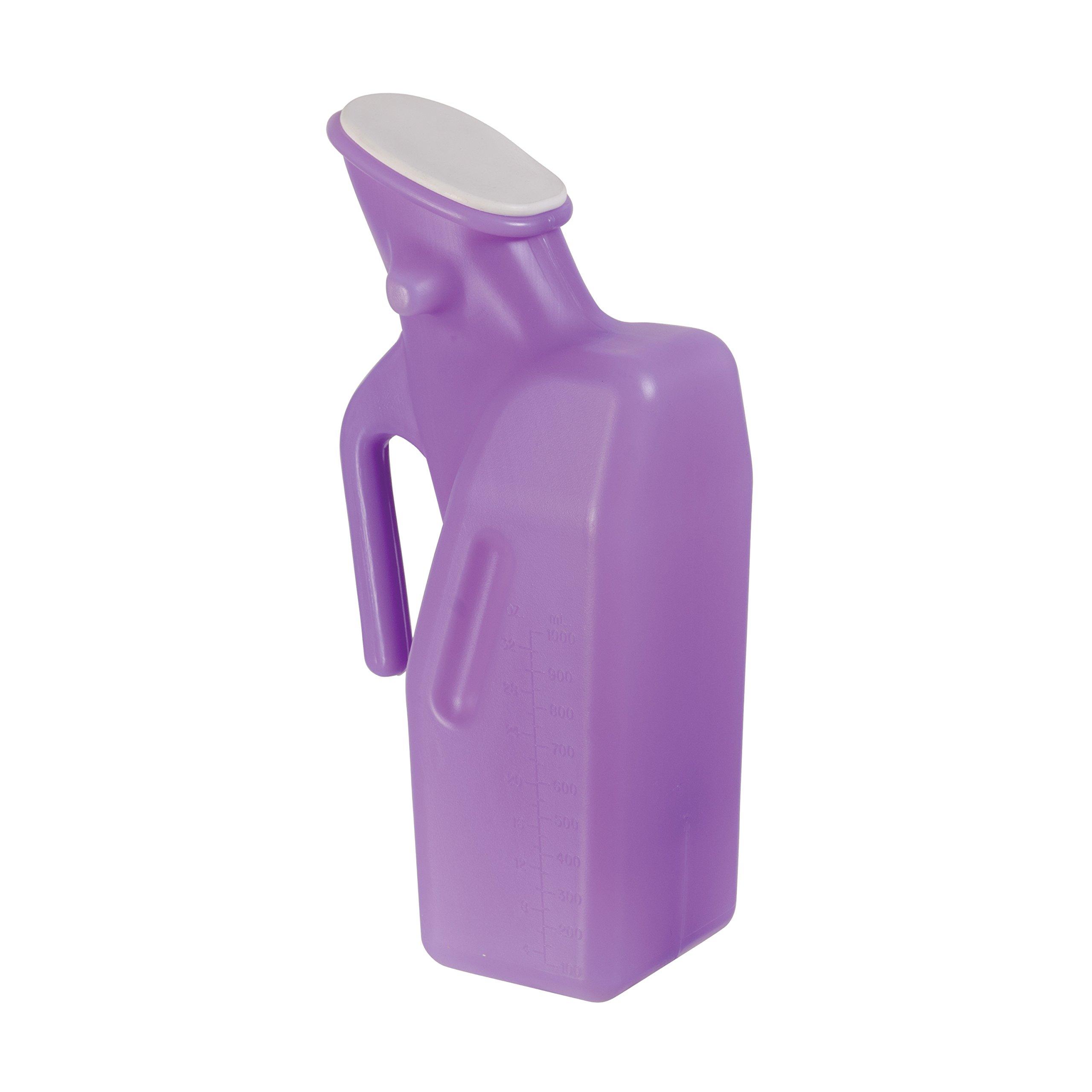 DMI Female Portable Urinal Bottle with Leak-Resistant Lid, Lightweight Shatter-Resistant Plastic, 1 Quart Capacity, Autoclavable, Purple by DMI