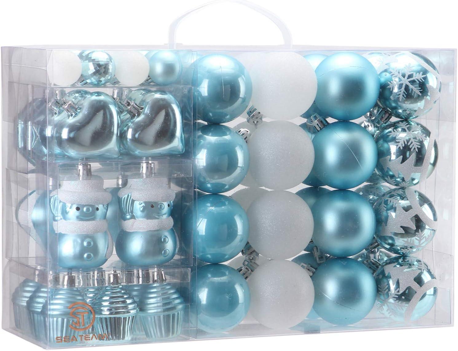 Sea Team 69 pcs Regalo de Adorno de Bola Navidades Inastillables en Festivos, Reutilizables, Paquete de Regalar portátil para Decorar el Arbol de Navidad